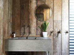 Wooden cabin holiday home in Cornwall for a couple with a dog - rustic panelled walls with concrete basin Cabin Bathrooms, Outdoor Bathrooms, Outdoor Toilet, Concrete Basin, Vanity Basin, Rustic Bathroom Designs, Wooden Tags, Downstairs Toilet, Cottage In The Woods