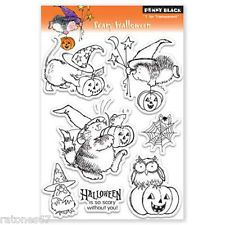 New Penny Black SCARY HALLOWEEN Clear Stamps Witch Cat Pumpkin Hedgehog Owl Mice