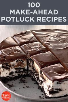 100 Make-Ahead Potluck Recipes Be ready for a last-minute party by keeping a few of these make-ahead potluck recipes on hand. Each recipe feeds 12 for plenty to go around. Potluck Dishes, Potluck Recipes, Crockpot Recipes, Dessert Recipes, Cooking Recipes, Potluck Meals, Just Desserts, Delicious Desserts, Yummy Food