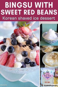 Korean shaved ice dessert Bingsu is an ice snow cones with fun and yummy toppings. This is so fabulously cooling and refreshing in the summer! The red, white and blue colors are perfect for July 4th but you can top it with your favorite canned or fresh fruit. #bingsu #koreanfood #asianfood #summerdessert #snowcones #kimchimari Easy Korean Recipes, Best Healthy Dinner Recipes, Asian Recipes, Healthy Dinners, Asian Desserts, Summer Desserts, Dessert Dishes, Dessert Recipes, Kitchen Recipes