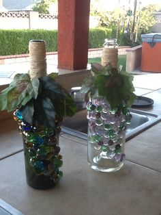 Wine bottle hot glue glass flat marbles in the pattern of for Buy grape vines for crafts