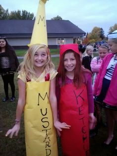 Ketchup and mustard haloween costumes
