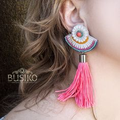 White boho tassels earrings Stylish romantic earring with pink tassel & coral, blue, turquoise beads Bohemian beaded embroidery accessory by BusikoUA on Etsy