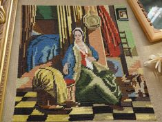 Figural-Lady-Completed-Handmade-Needlepoint-Tapestry-Canvas