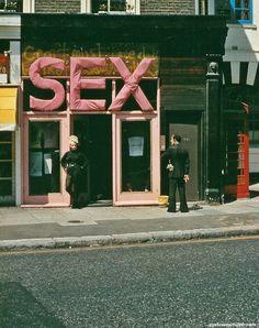 Jordan (Pamela Rooke) outside of the Sex Boutique in London's Kings Road, 1970's.