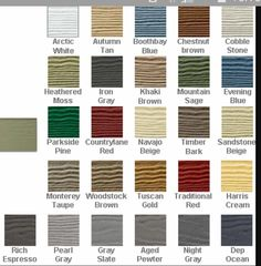 Hardie board color chart
