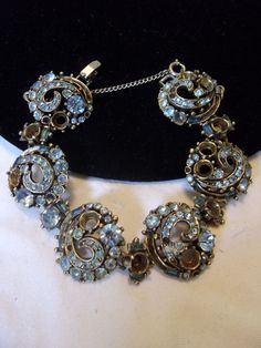 HOLLYCRAFT Vintage 1955 Rhinestone Jeweled Blue Gold Plate Bracelet REPAIR #Hollycraft #Chain
