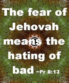 Pr 8:13 - We do not have to be terrorized...that is not the fear of Jehovah. It is a respect for him, like trying to please your parents, so you are not written out of the inheritance. That is the fear of Jehovah -- OBEDIENCE to his natural laws which keep us alive and healthy.