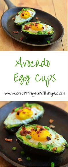 Avocado Egg Cups are made with eggs baked in avocado halves and topped with crisp green onions and bacon