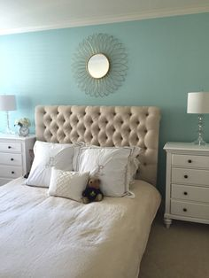 Benjamin Moore Spring Sky 674 paint. Pottery barn chesterfield bed frame.