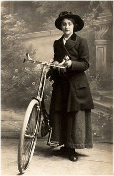 Edwardian lady with bicycle