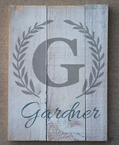 Porch: Monogram on pallet wood or similar. Preferably Gray on Black.