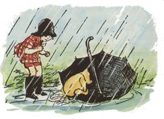 Color Christopher Robin and Pooh with Umbrella