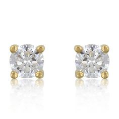 4 mm Sterling Cubic Zirconia Gold Studs