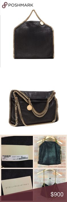 """NEW Stella McCartney Falabella Foldover Bag Black Authentic Stella McCartney Falabella Foldover Small Tote in Shaggy Deer/Black with gold hardware. This bag is brand new without tags. It includes the authenticity card and is in pristine condition. No dust bag. Made in Italy. Measures approx 14.5""""W x 14""""H x 3.5""""D. 100% free of animal products, cruelty free with lining made from recycled plastic bottles. Still for sale at full retail! Don't miss!  ❌No trades ❌No off-Posh transactions Stella…"""