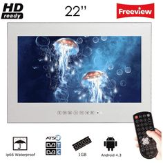 Soulaca Frame Less Waterproof Dust Proof TV Bathroom Use Waterproof Speaker, Mirror Tv, Mirror Panels, 22 Inch Tv, Tv Holder, Tv In Bathroom, Dtv, Magic Mirror