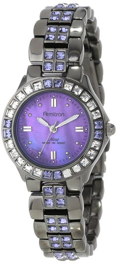 Armitron Women's 75/3689VMDG Purple Swarovski Crystal Accented Gunmetal Bracelet Watch *** Check out this great watch.