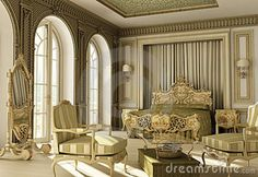 Of A Luxury Rococo Bedroom With Rich Furniture And Double