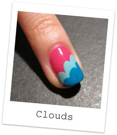 One of my favorite nail blogs and nail designs...So cute and so simple! Nailside: Tutorial: Freehand cloud design