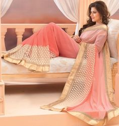56f2f4a5eb735c Exquisite Salmon Pink and Off White Saree - Bollywood Sarees - Sarees -  Women