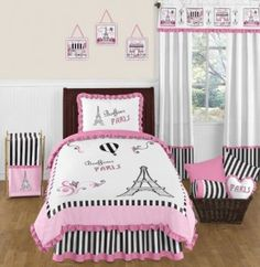 Pink, Black and White Stripe Paris 4 Piece Childrens and Kids Girl Twin French Eiffel Tower Bedding Set Collection