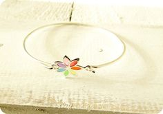 """So pretty :) Sterling Silver Buttonsy """"Stained Glass"""" Rainbow Flower Bangle Rainbow Flowers, Real Flowers, True Love, Stained Glass, Decorative Plates, Bangles, Sterling Silver, Pretty, Accessories"""