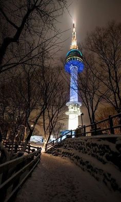 Namsan Tower In Seoul, South Korea by Quek ZongYe South Korea Seoul, South Korea Travel, Asia Travel, Whats Wallpaper, Korea Wallpaper, Trendy Wallpaper, Republik Korea, South Korea Photography, Travel Photography