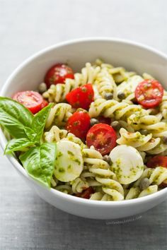 Caprese PastaSalad- making this tomorrow! But with diced texas beefsteak tomatoes not grape/cherry little guys.