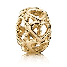 Authentic 925 Sterling Silver Bead Charm Gold Color Lucky In Love Heart Spacer Beads Fit Pandora Bracelet Bangle DIY Jewelry Pandora Gold, Pandora Beads, Pandora Bracelet Charms, Pandora Jewelry, Open Pandora, Fine Jewelry, Jewelry Making, Jewellery, Gold Jewelry