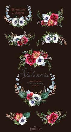 Wedding Watercolor Wreath & Bouquets Helleborus от ReachDreams