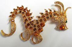 Vintage Amber Rhinestone Gold Tone Dragon by TheCedarChestMidland, $34.99