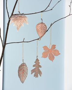 Copper Christmas Ornaments - Lace Leaf Ornaments, Set of 5