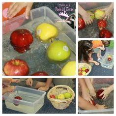 Science Center - Will it sink or float?  This pin takes you to a blog write up about apples sinking or floating, but it would be fun to gather several fall objects (apples, pumpkins, gourds, leaves, etc) and ask the kids if they think the items will sink or float.