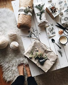 A cozy holiday decor flatlay with neutral colors, fur rug, paper decor and slow living vibes via irinahp. #flatlay #holidayinspiration