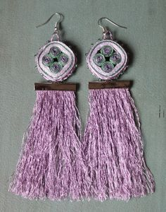 Frosted lilac tassel earrings OOAK ready to by HanhmadebyUkropova, $12.00