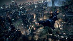 Arkham Knights -  Batman gliding through city