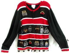 """Just B by Berek Red Black Purse Sweater Large Bust 40"""" Beads Sequins Embroidery #JustBBerek #Cardigan"""