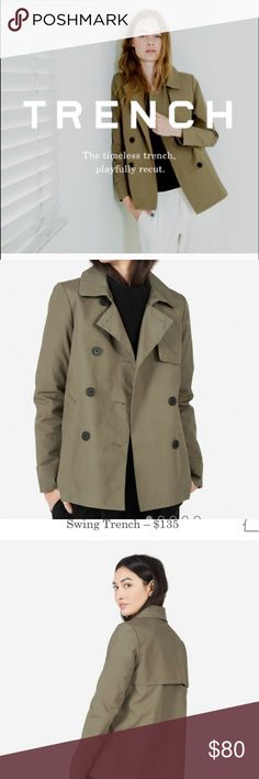 Everlane Cropped Swing Trench Olive Size Medium m Brand new Everlane swing trench in sage! Never worn! Reposhing, perfect gorgeous coat!  Please ask all questions! Being sold on the website right now for 135! Never goes out of style! Everlane Jackets & Coats Trench Coats