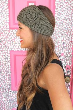 Crochet+Headband+in+Olive