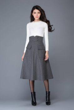 Gray wool skirt midi skirt winter skirts high waisted skirt designer skirt warm skirt pocket s Skirt Outfits, Dress Skirt, Midi Skirt, Work Outfits, Tunic Designs, Winter Skirt, Wool Skirts, Women's Skirts, Skirts With Pockets