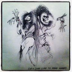 Tim Burton's sketch Tim Burton Sketches, Tim Burton Artwork, Camille Rose Garcia, Tim Burton Style, Mark Ryden, Dark And Twisted, Beetlejuice, Dark Beauty, All Art