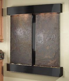 Adagio CFS1504 Cottonwood Falls - Rajah Natural Slate Wall Fountain Vertical Wall Mounted Water Feature (Rounded or Squared Edges)  61 Wide x 69 Tall (6 deep). Blackened Copper Finish Hood and Tray Natural Multi Color Rajah Slate*  (Slate is a dark gray background often with spalshes or oranges and burgundys)  * As these are natural stones--each is unique in color and texture (photos on the web... #Adagio #Home