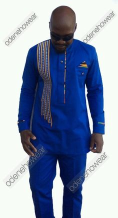 Odeneho Wear Men's Blue Polished Cotton Top And Bottom. African Clothing. #OdenehoWear #EmbroideredKenteDesign