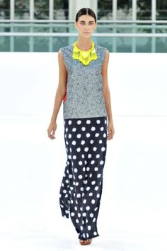 My favorite trend: pops of neon. Paired with a sporty sweatshirt tank and polka for maxi. #perfection Sass & Bide S/S2012
