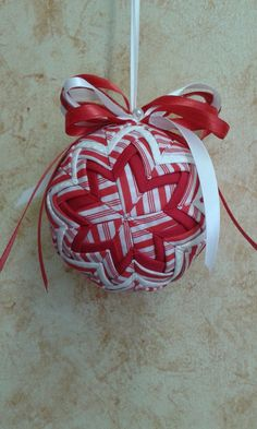 Folded Fabric Ornament in Red and White Stripe by QuiltersPantry