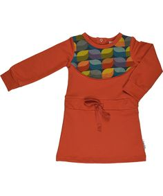 Baba Babywear gorgeous retro orange dress with autumn leaves print. baba-babywear.en.emilea.be