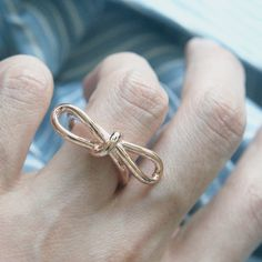 Rose Gold Promise Bow Knot Ring Sterling Silver - kellinsilver.com