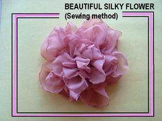 BEAUTIFUL SILKY FLOWER style # 3, fabric flower tutorial, sewing method.