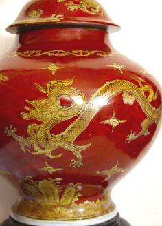 PRICE CUT: GILT DRAGON-CHINESE, RED GINGER JAR LAMP, WOOD BASE, COLLECTIBLE!