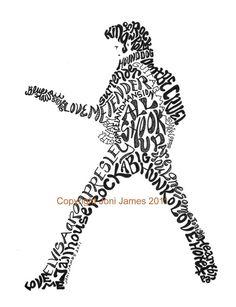 Elvis Presley typography illustration or word art calligram by Joni James Elvis Tattoo, Sweet Caroline, Music Tattoos, New Tattoos, Hand Tattoos, Sleeve Tattoos, Music Guitar, Music Songs, Music Icon